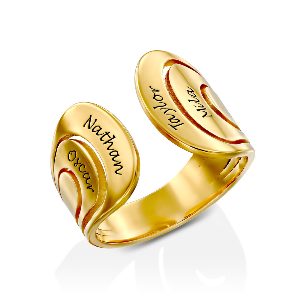 Hug Ring with Kids Name in Gold Plating