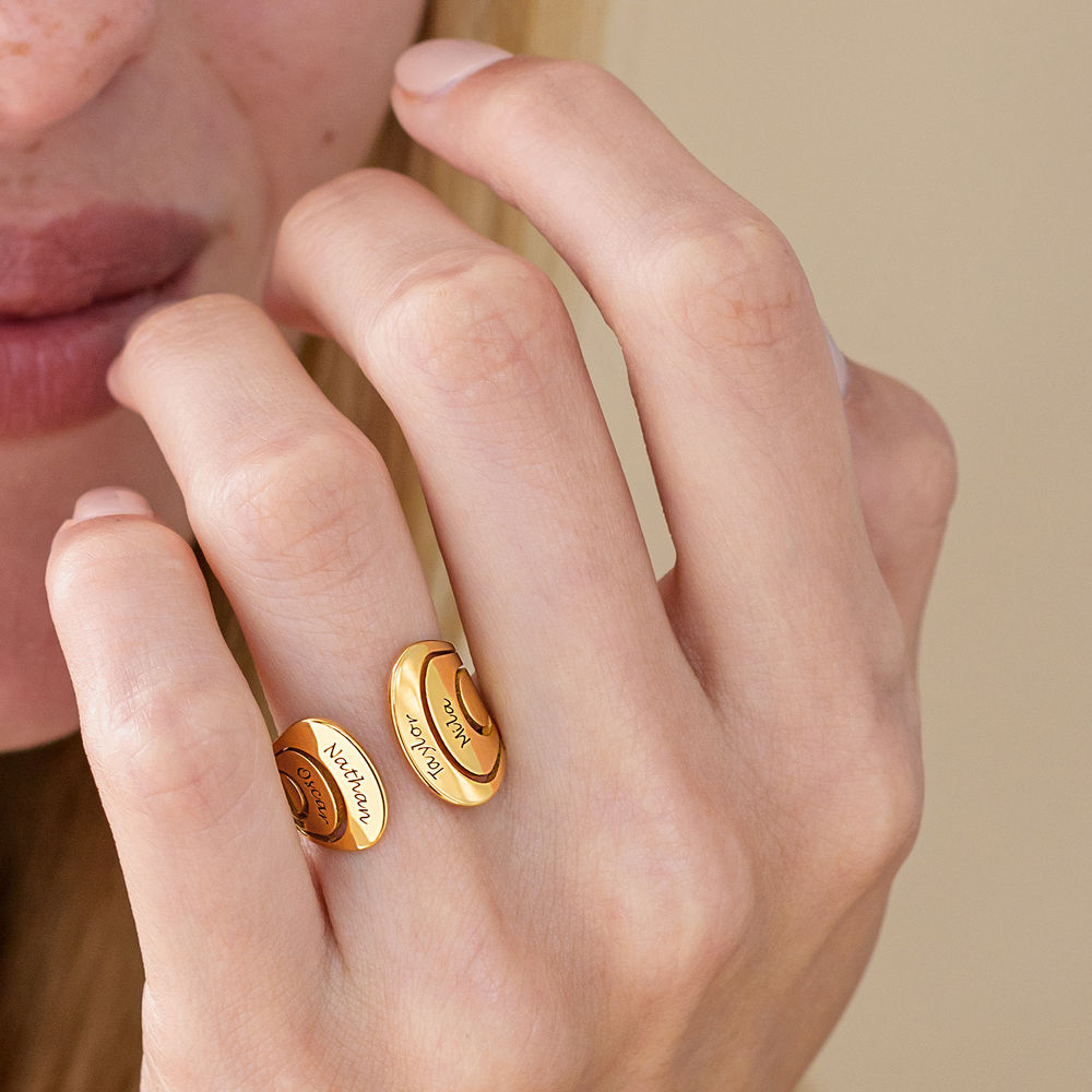 Hug Ring with Kids Name in Gold Plating - 4
