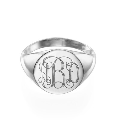 Signet Ring in Sterling Silver with Engraved Monogram - 1