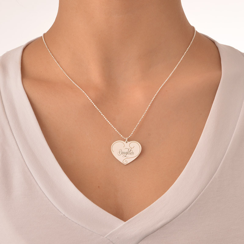 Engraved Heart Pendants - Mother Daughter Jewelry - 5