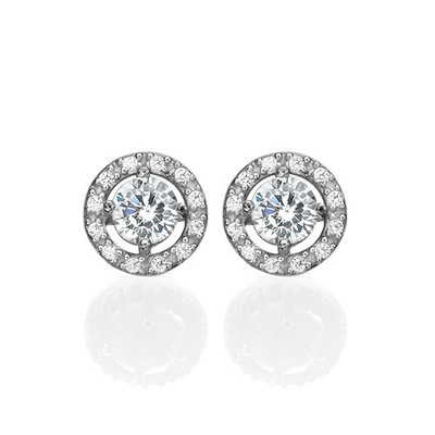 Round Cubic Zirconia Stud Earrings - 1