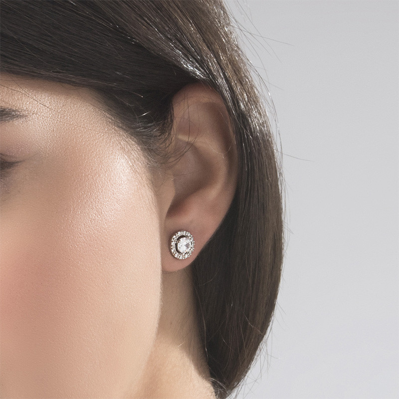 Round Cubic Zirconia Stud Earrings - 2