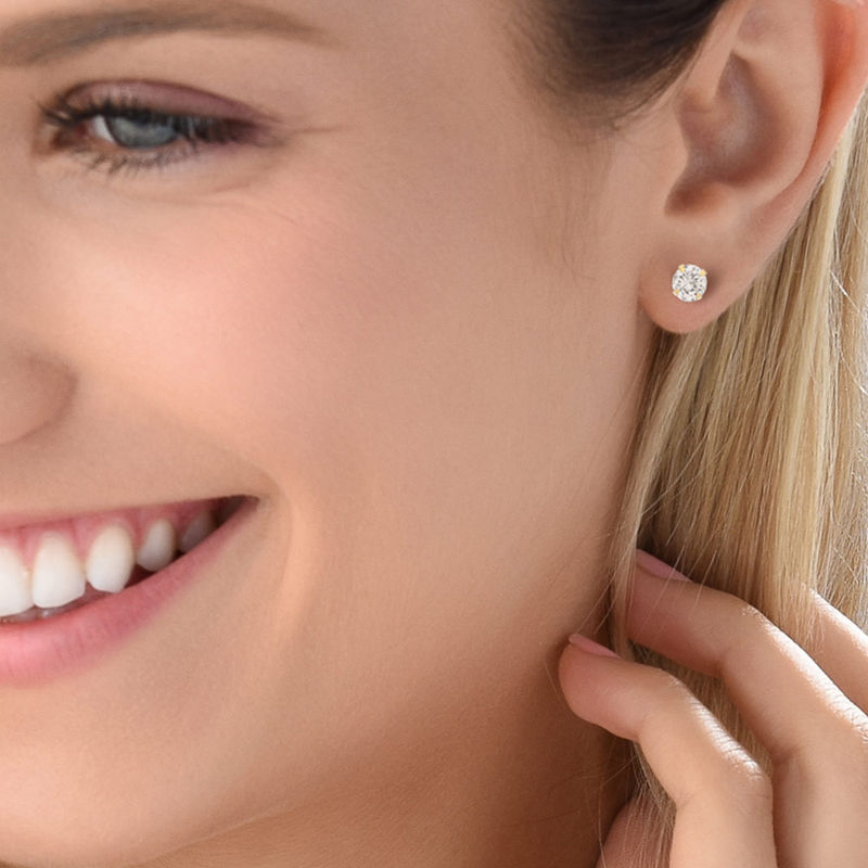 10ct Solid Gold Stud Earrings with Cubic Zirconia - 1