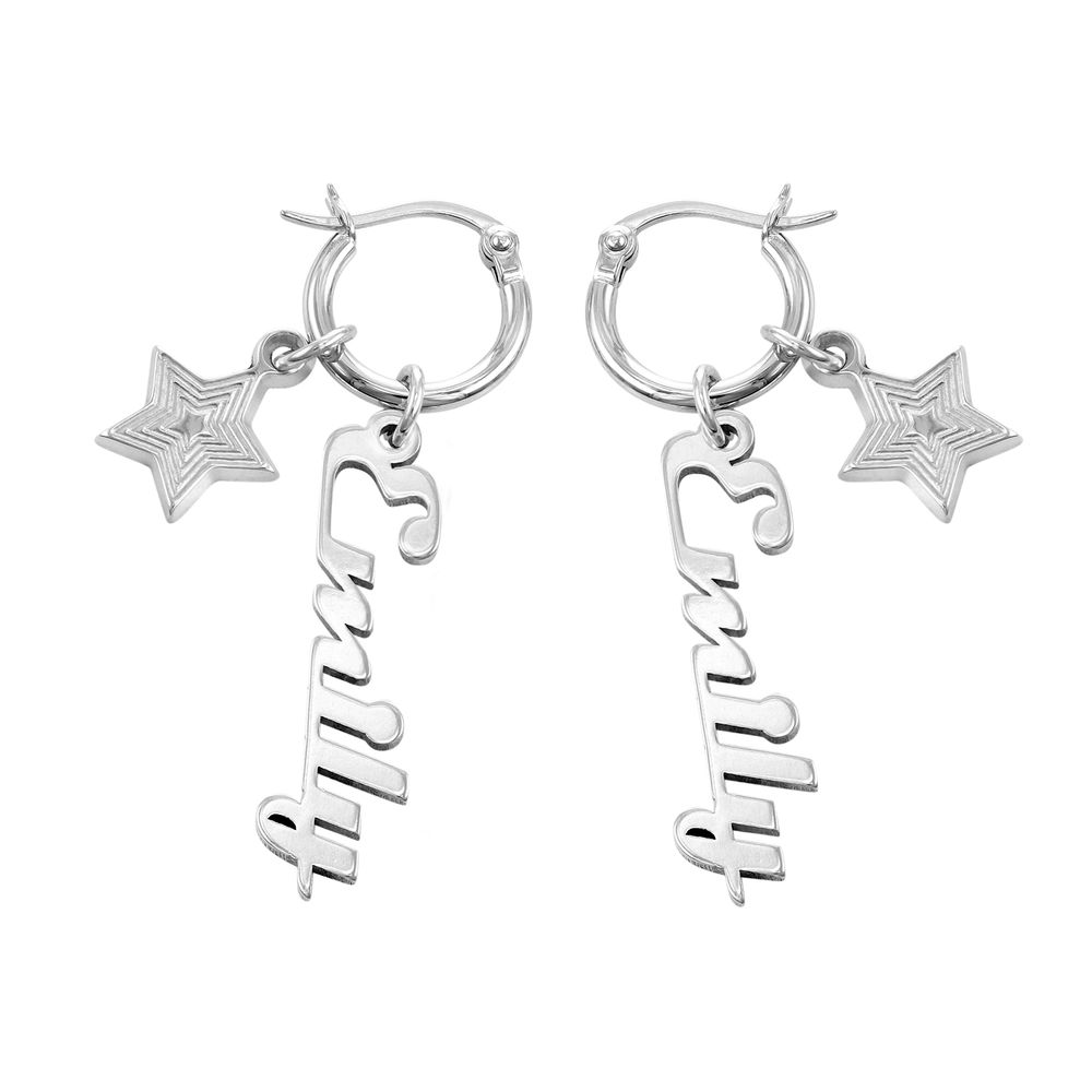 Siena Drop Name Earrings in Sterling Silver