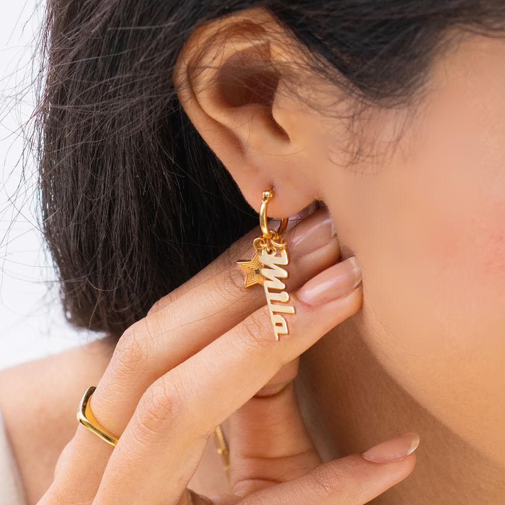 Siena Drop Name Earrings in 18ct Gold Plating - 1