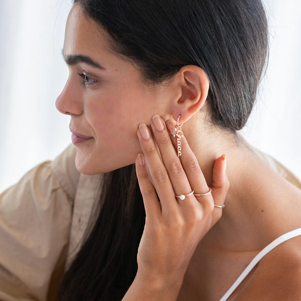Siena Drop Name Earrings in 18k Rose Gold Plating - 2