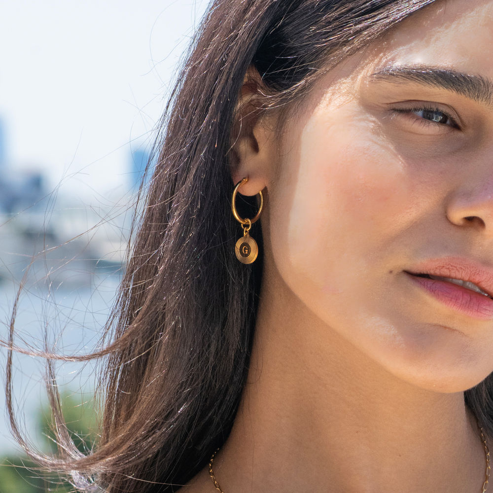 Odeion Initial Earrings in 18ct Gold Plating - 1