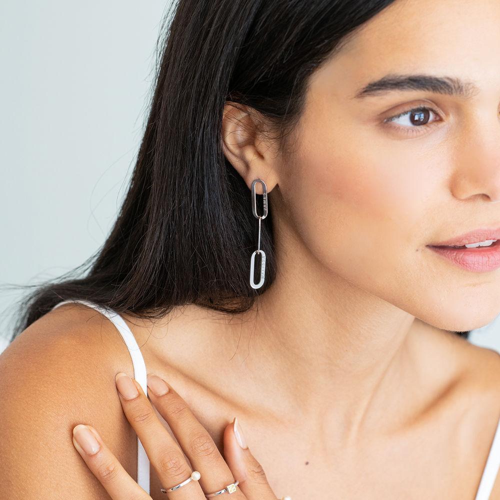 Aria Link Chain Earrings in Sterling Silver - 2