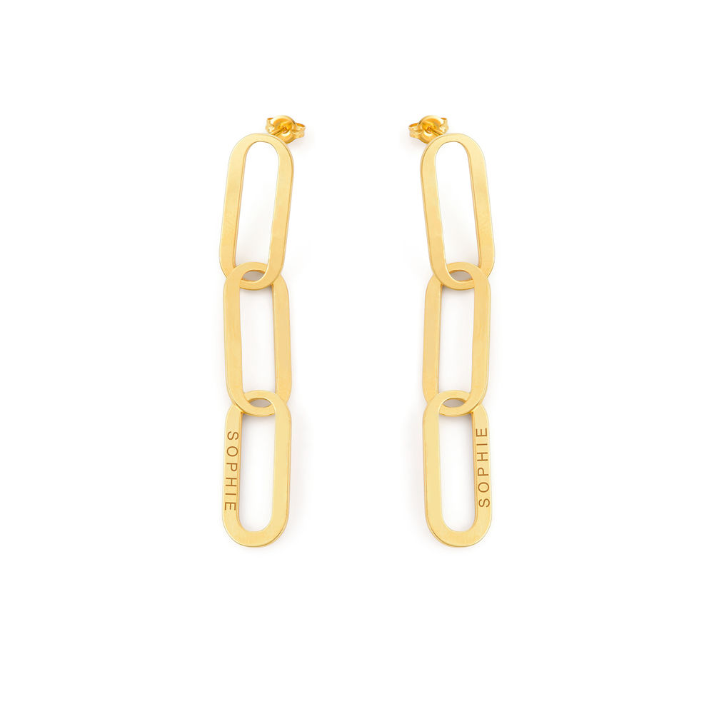 Aria Link Chain Earrings in 18ct Gold Plating