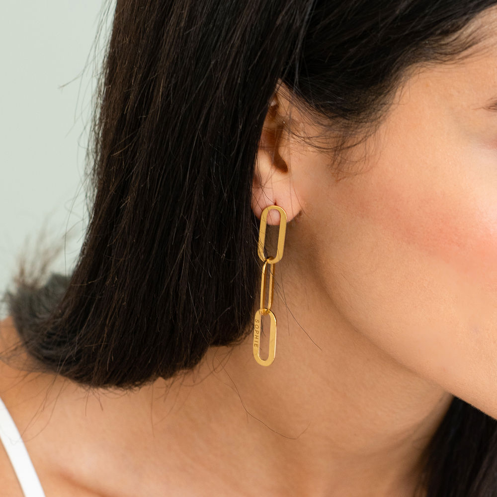Aria Link Chain Earrings in 18ct Gold Plating  - 1