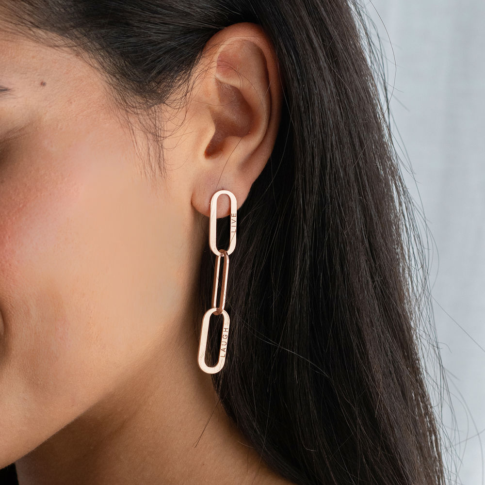 Aria Link Chain Earrings in 18ct Rose Gold Plating  - 1