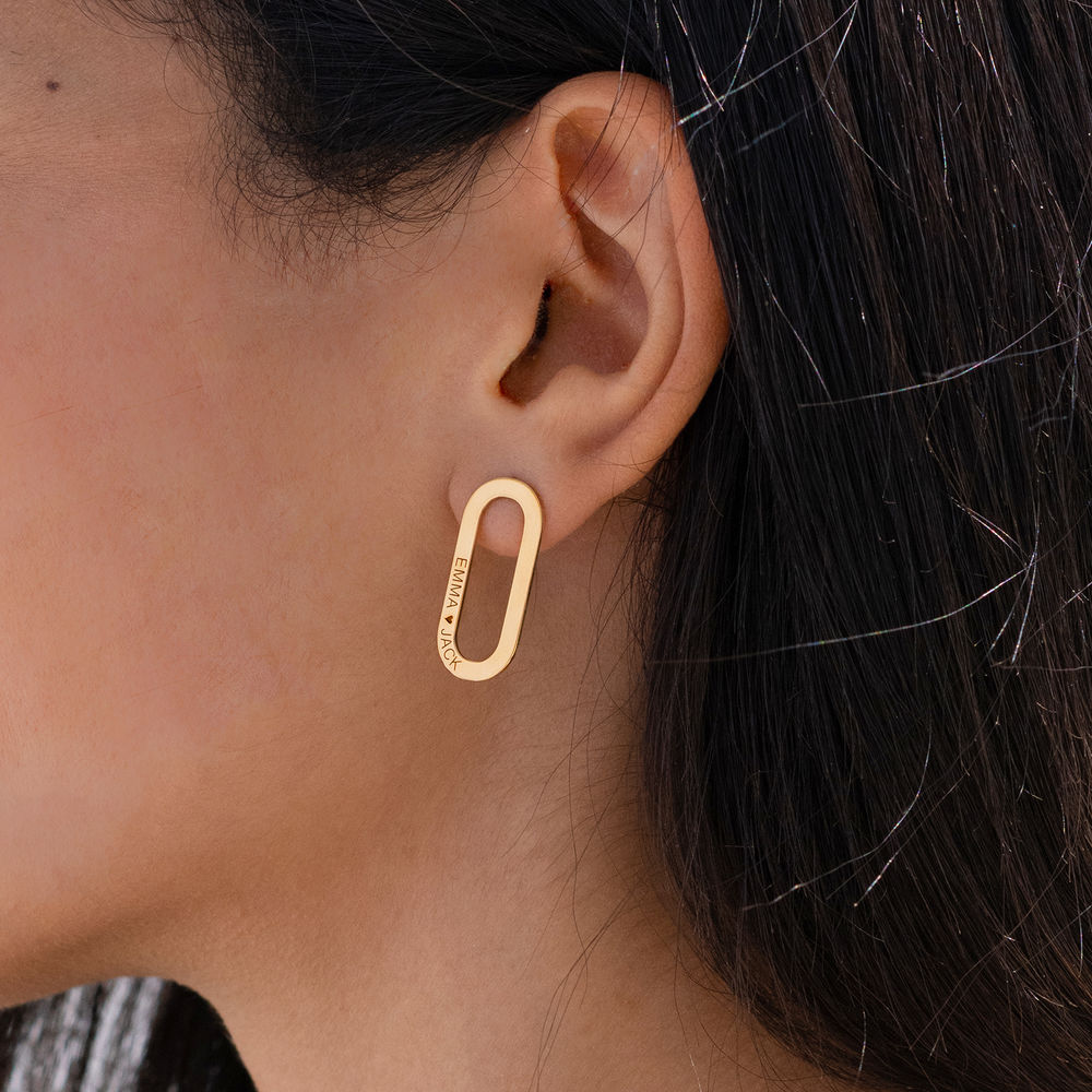 Aria Engraved Single Link Chain Earrings with Engraving in Gold Plating  - 1