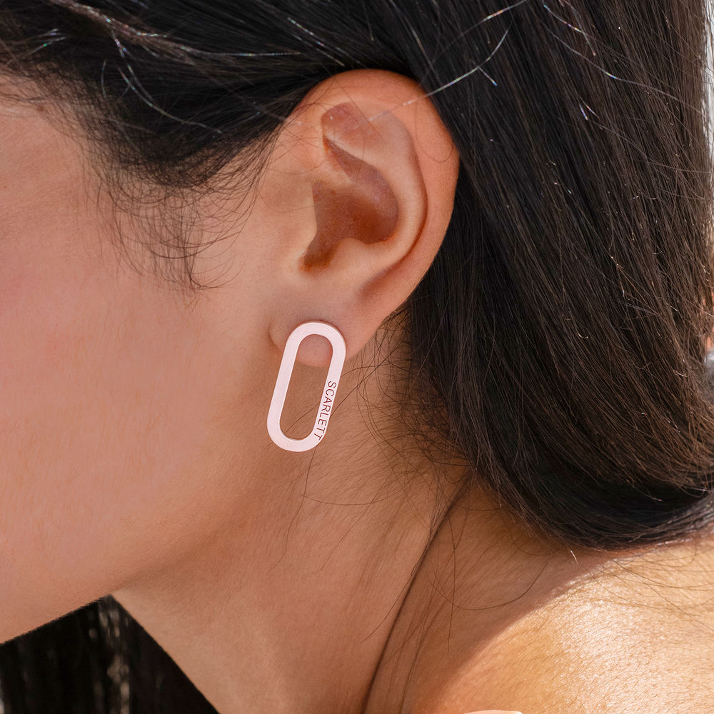Aria Engraved Single Link Chain Earrings with Engraving in Rose Gold Plating - 1