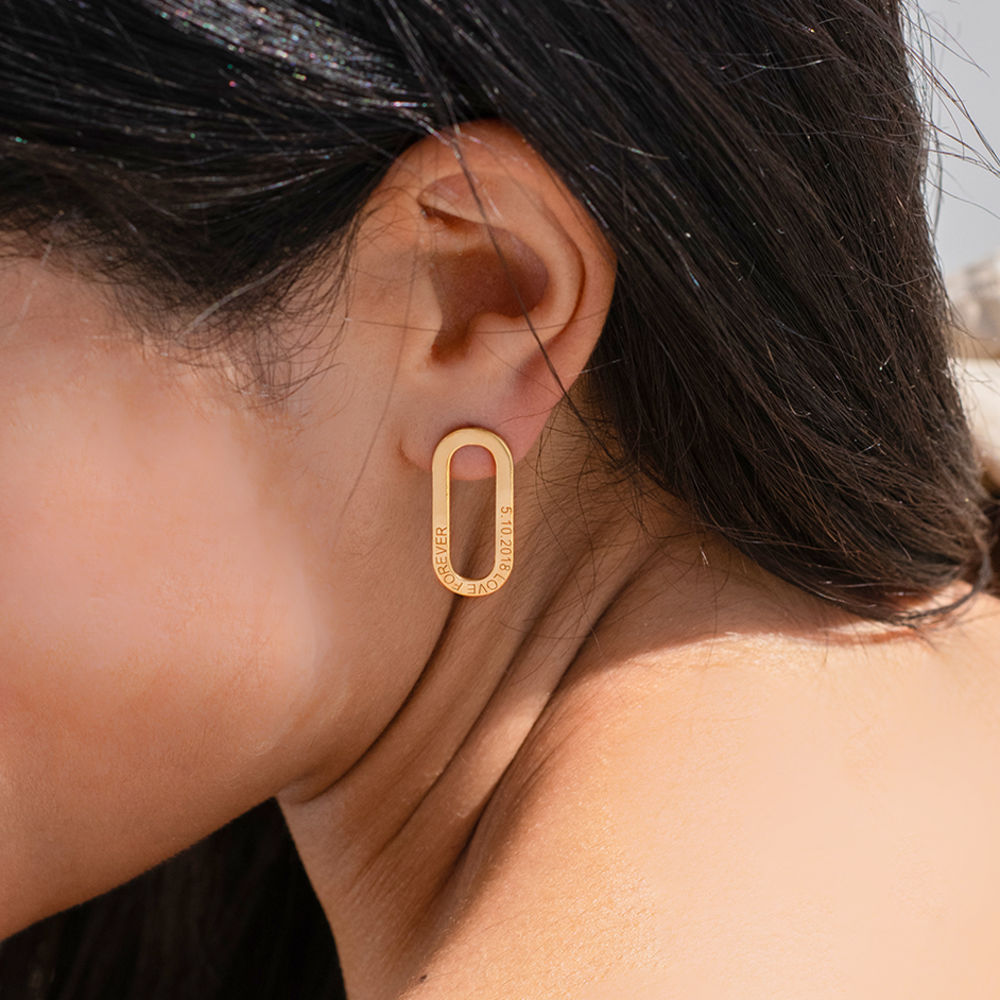 Aria Engraved Single Link Chain Earrings with Engraving in Vermeil - 1