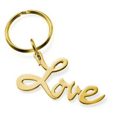 """18ct Gold Plated """"Love"""" Keyring"""