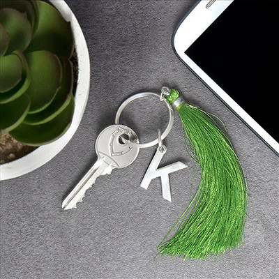 Personalised Keyring with Initial and Tassel - 2
