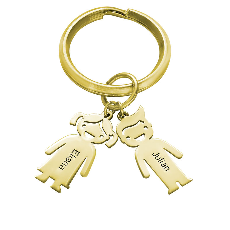 Personalised Keyring with Children Charms in Gold Plating - 1