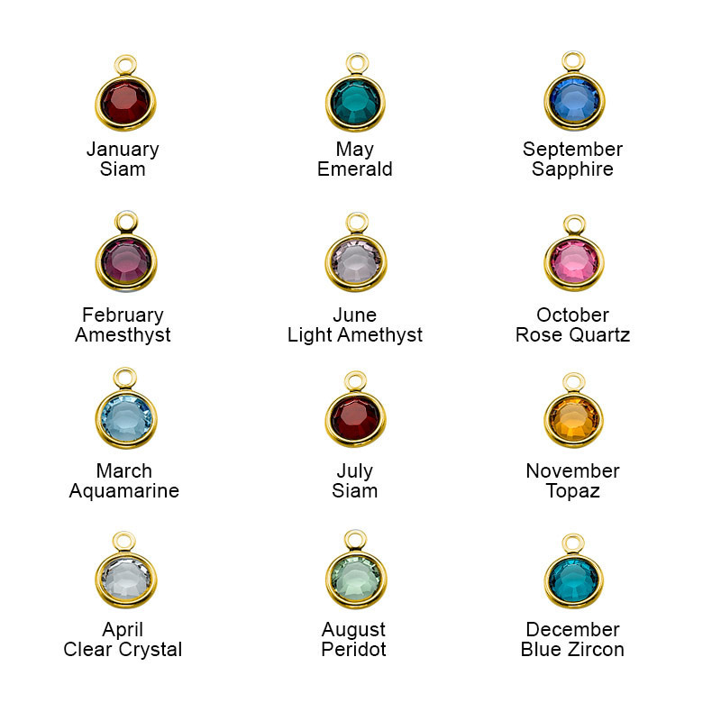 Swarovski Birthstones with Gold Plated Lining - 1