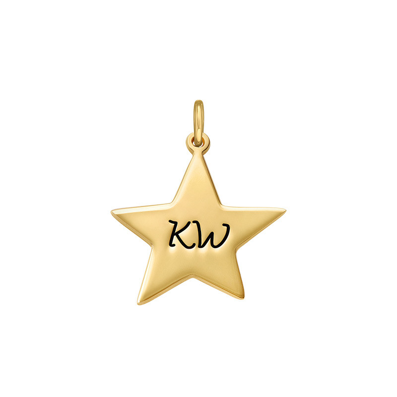 Engraved Star Charm - Gold Plated