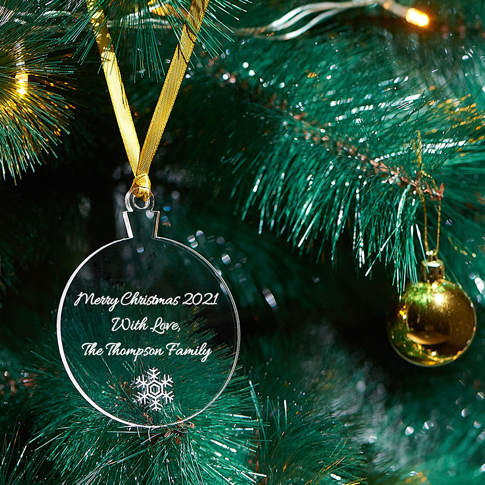 Personalized Holiday Ornament with Snowflake - 2