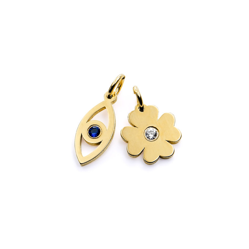 Linda Evil Eye and Clover Pendant in Gold Vermeil