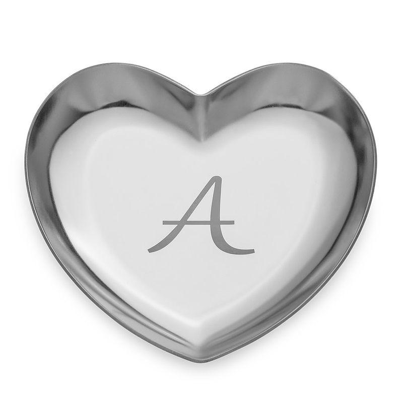Personalised Heart Jewellery Tray in Silver Colour