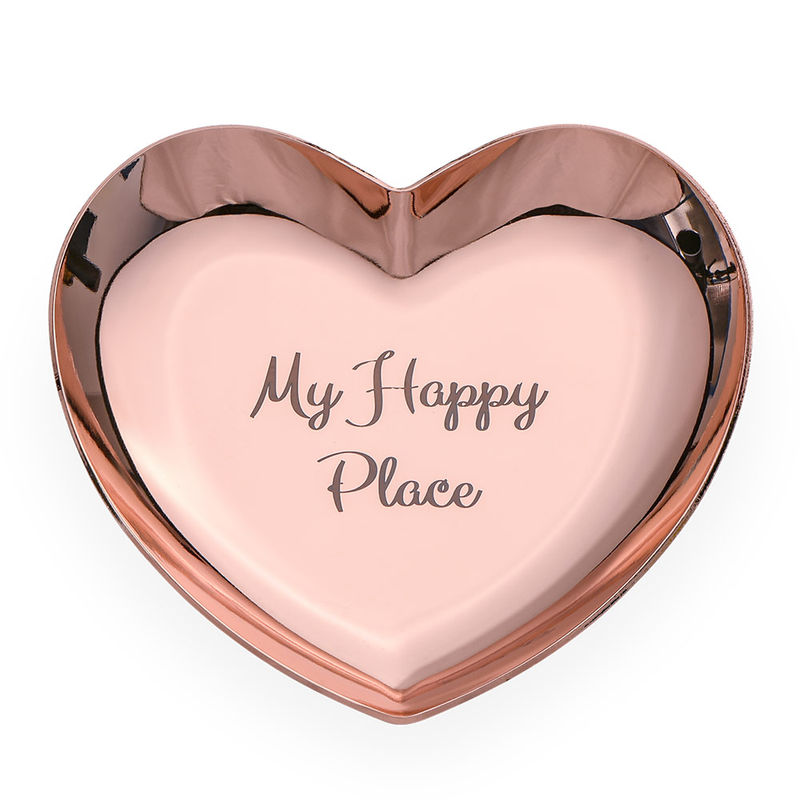 Personalised Heart Jewellery Tray in Rose Gold Colour