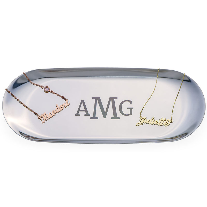 Personalised Oval Jewellery Tray in Silver Colour - 1