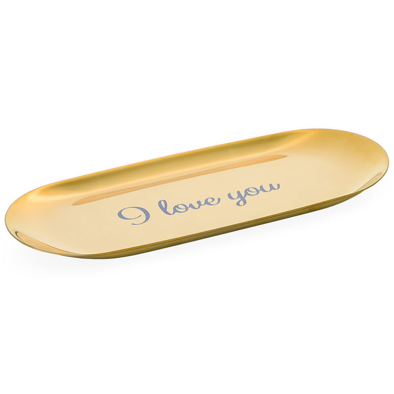 Personalised Oval Jewellery Tray in Gold Colour