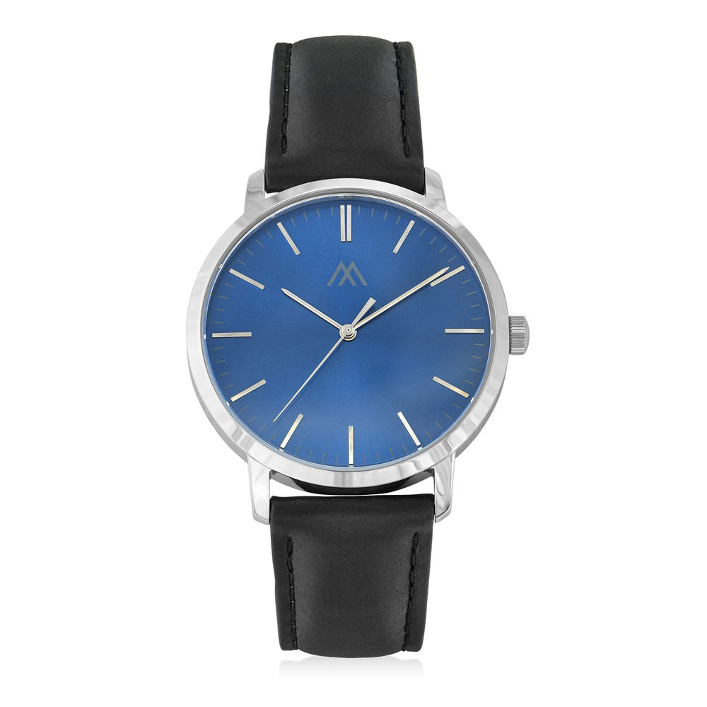 Hampton Minimalist Black Leather Band Watch for Men with Blue Dial