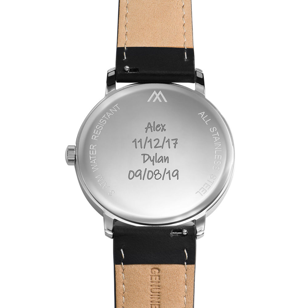 Hampton Minimalist Black Leather Band Watch for Men with Blue Dial - 4
