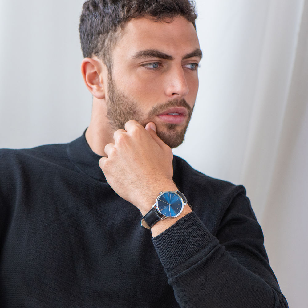 Hampton Minimalist Black Leather Band Watch for Men with Blue Dial - 5