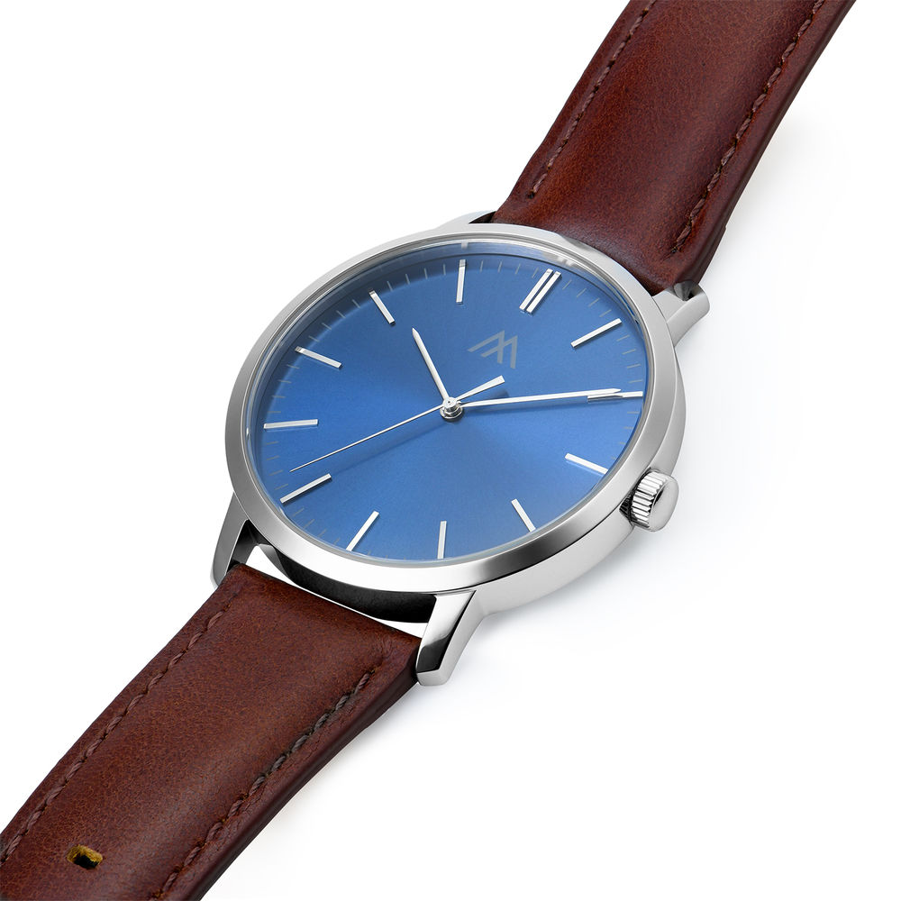 Hampton Minimalist Brown Leather Band Watch for Men with Blue Dial - 1