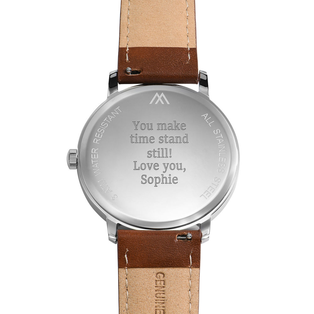 Hampton Minimalist Brown Leather Band Watch for Men with Blue Dial - 3
