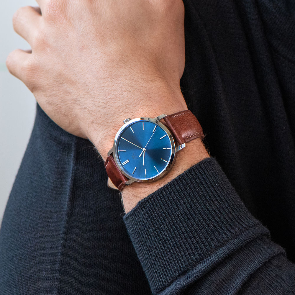 Hampton Minimalist Brown Leather Band Watch for Men with Blue Dial - 6