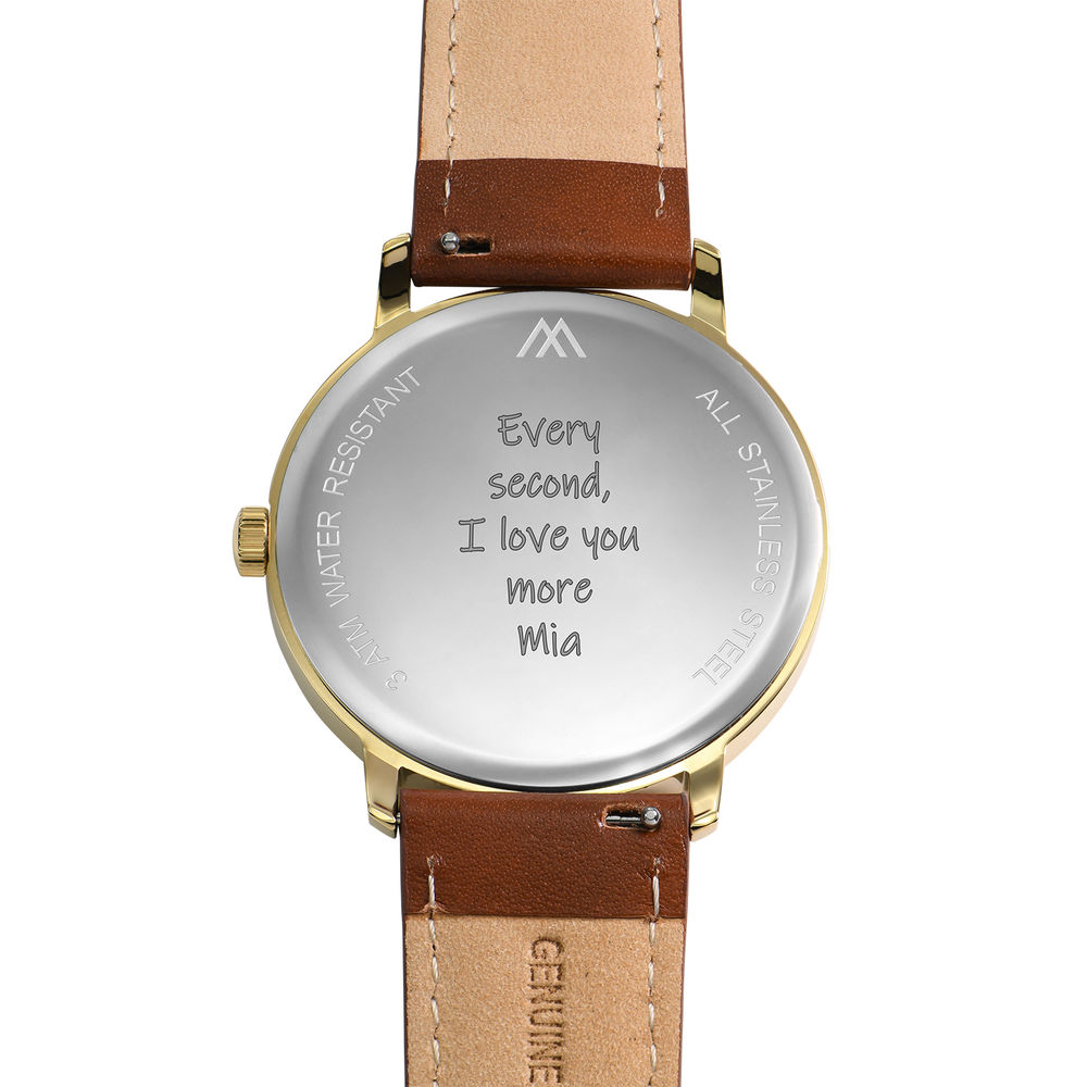 Hampton Engraved Minimalist Watch for Men with Brown Leather Strap - 4