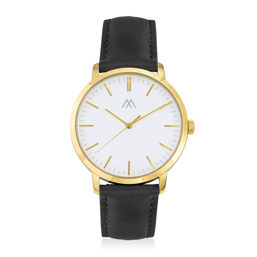 Hampton Engraved Minimalist Watch for Men with Black Leather Strap