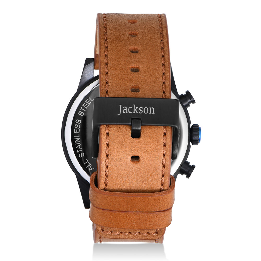 Quest Chronograph Leather Strap Watch for Men with Black Dial - 2