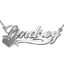 Side Heart Silver Name Necklace product photo
