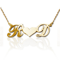 Personalised 14ct Gold Couples Heart Necklace product photo