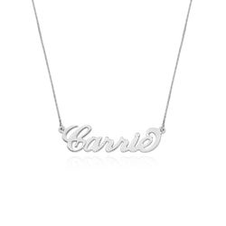 Small 14ct White Gold Carrie Style Name Necklace with Box Chain product photo