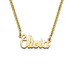 Tiny Name Necklace in Gold Plated Extra Strength Silver product photo