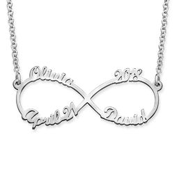 Infinity 4 Names Necklace in Sterling Silver product photo