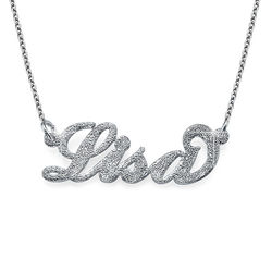 Sparkling Diamond-Cut Silver Carrie Name Necklace product photo