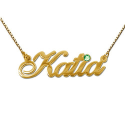 14ct Gold and Birthstone Name Necklace product photo