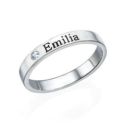 Stackable Name Ring in Silver with Diamond product photo