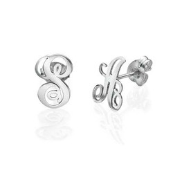 Sterling Silver Initial Stud Earrings product photo
