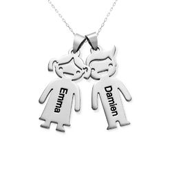 Mother?s Necklace with Children Charms in 10ct White Gold product photo