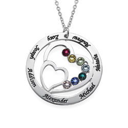 Heart in Heart Birthstone Necklace for Mums product photo