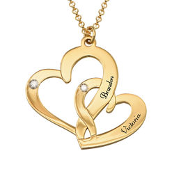Engraved Two Heart Necklace with Diamonds in 18ct Gold Vermeil product photo